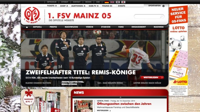 Screenshot Homepage FSV Mainz 05 © FSV Mainz 05
