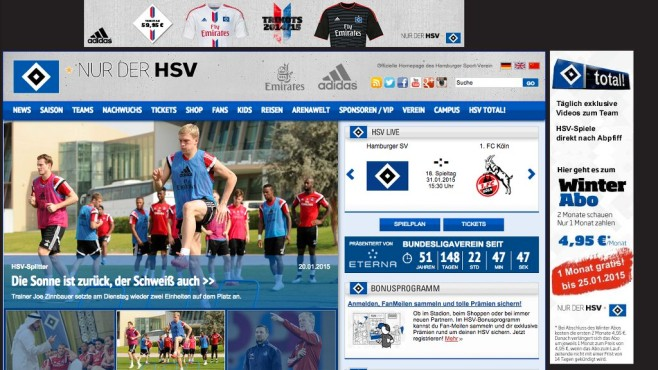 Screenshot Homepage Hamburger SV © Hamburger SV