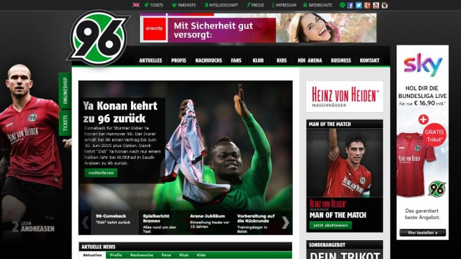 Screenshot Homepage Hannover 96 © Hannover 96