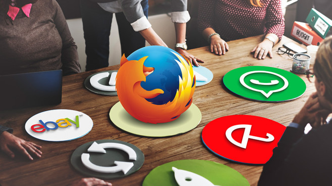 Browser-Erweiterungen ©©istock.com/Rawpixel Ltd, Firefox, Avira, WhatsApp, eBay