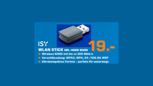 Isy WLAN USB Micro Adapter N300 (IWL 4000) © Saturn