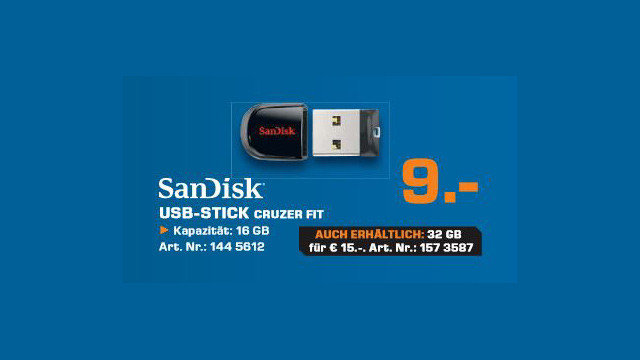 Sandisk Cruzer Fit 16GB © Saturn
