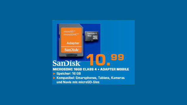 Sandisk microSDHC 16GB Class 4 (SDSDQ-016G-B35A) ©Saturn