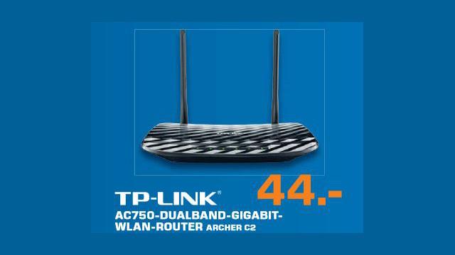 TP-LINK AC750 Dualband Gigabit WLAN-Router (Archer C2) ©Saturn