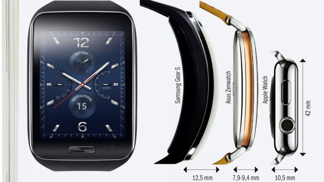 Samsung Gear S: Größenvergleich ©Samsung, COMPUTER BILD