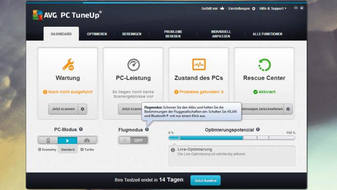 AVG PC TuneUp: Flugzeugmodus für Windows 7 ©COMPUTER BILD