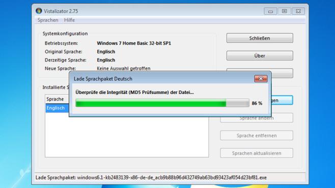 Vistalizator: Systemsprache umstellen ©COMPUTER BILD