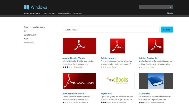 Windows Store Scamware Adobe Reader © COMPUTER BILD