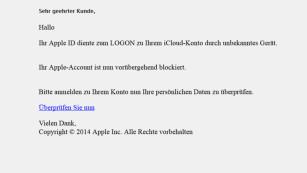Viren statt nackte Haut: Kriminelle nutzen Promifoto-Skandal aus Vergifteter Apfel: Auch wenn diese Mail Apple als Absender hat – klicken Sie nicht auf den angezeigten Link. ©COMPUTER BILD