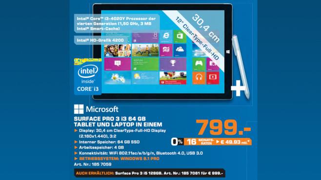 Microsoft Surface Pro 3 i3 64GB ©Saturn
