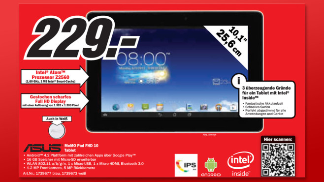 Asus MeMO Pad FHD 10 16GB WiFi © Media Markt
