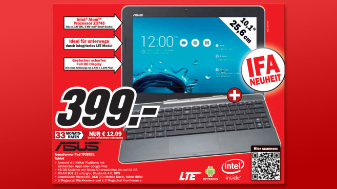 Asus Transformer Pad TF303CL © Media Markt