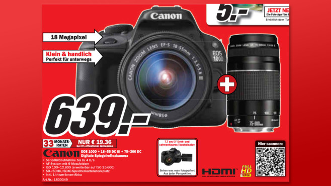 Canon EOS 100D Kit 18-55 mm + 75-300 mm © Media Markt