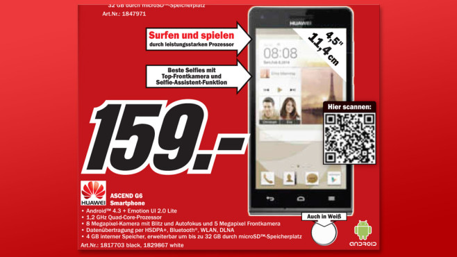 Huawei Ascend G6 © Media Markt