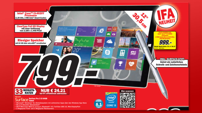 Microsoft Surface Pro 3 i3 64GB © Media Markt