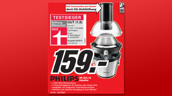 Philips Avance Collection Entsafter (HR 1871/10) © Media Markt