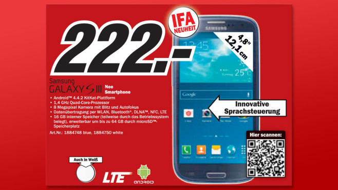 Samsung Galaxy S3 Neo © Media Markt