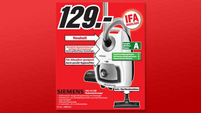 Siemens VSZ 4 G 338 ©Media Markt