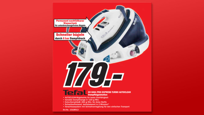 Tefal Pro Express Turbo Autoclean (GV 8461) © Media Markt