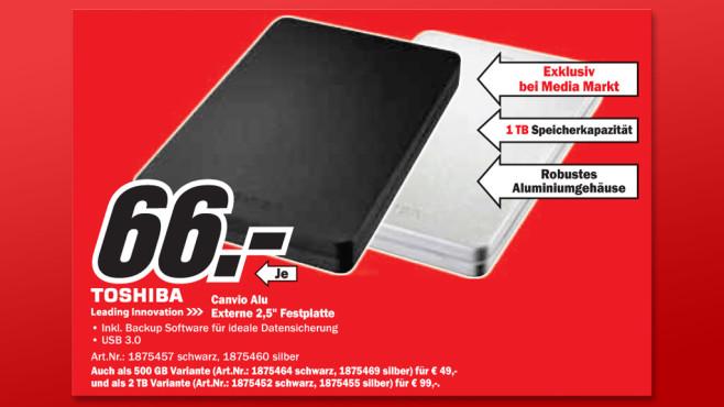 Toshiba HDTH310EK3AA 1TB CANVIO ALU 2.5 USB 3.0 ©Media Markt