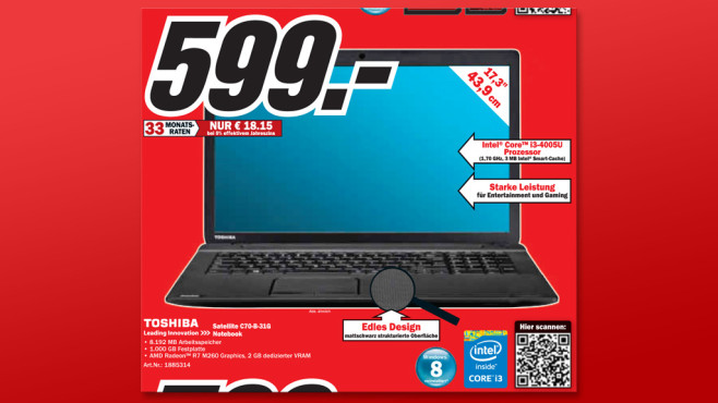 Toshiba Satellite C70-B-31G © Media Markt