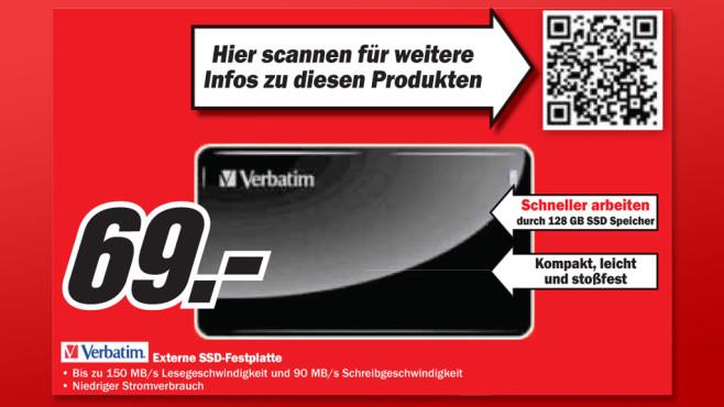 Verbatim Externe SSD 128 GB USB 3.0 ©Media Markt