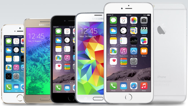 iPhone 5S/6/6 Plus vs. Samsung Galaxy Alpha/S5/Note Edge © Apple/Samsung/COMPUTER BILD