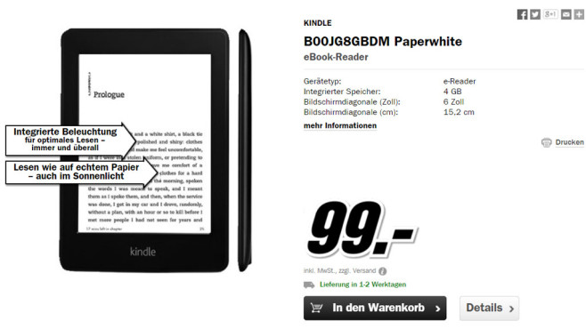 Amazon Kindle Paperwhite WiFi © Media Markt