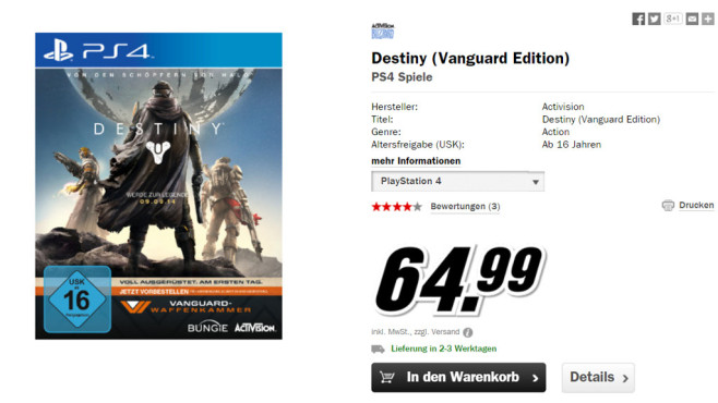 Destiny (Vanguard Edition) (PlayStation 4) © Media Markt