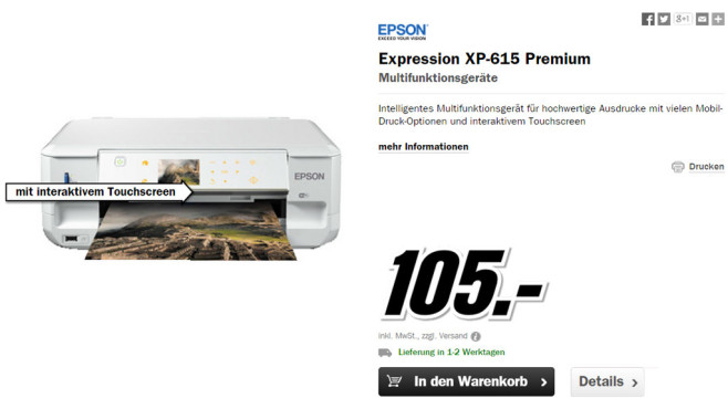 Epson Expression Premium XP-615 © Media Markt
