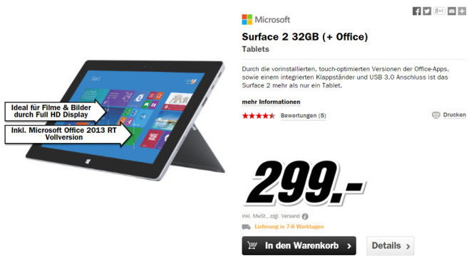 Microsoft Surface 2 32GB © Media Markt
