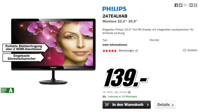 Philips 247E4LHAB © Media Markt