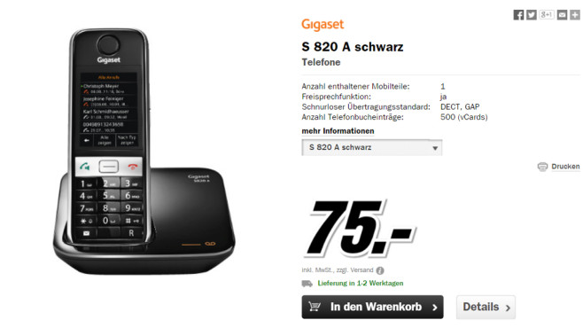 Gigaset S820A Single © Media Markt