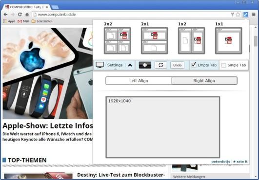 Tab Resize für Chrome ©COMPUTER BILD