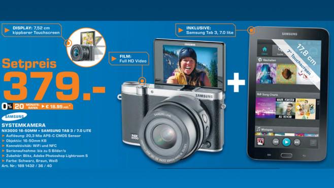 Samsung NX3000 Kit 16-50 mm + Samsung Galaxy Tab 3 7.0 Lite ©Saturn