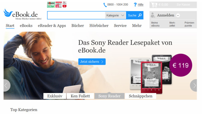 Gute eBook-Portale: Ebook.de © COMPUTER BILD