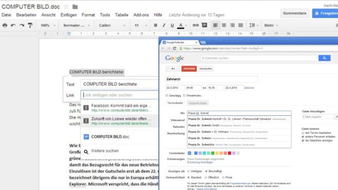 Google Docs und Google Kalender: B�ro und Termine im Blick ©COMPUTER BILD