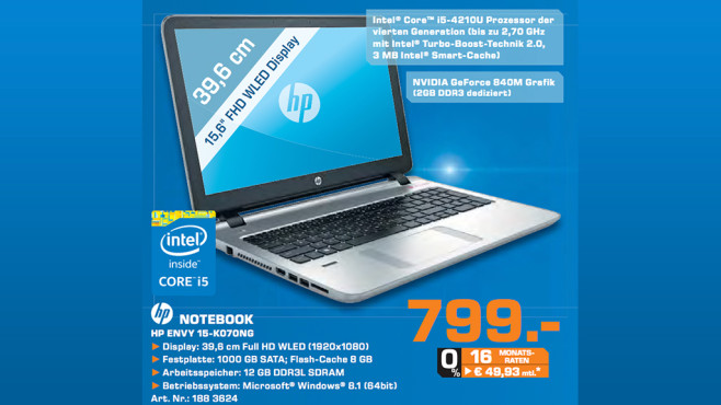 Hewlett-Packard HP Envy 15-k070ng © Saturn