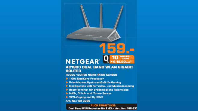 Netgear Nighthawk AC1900 Smart WiFi Router (R7000) © Saturn