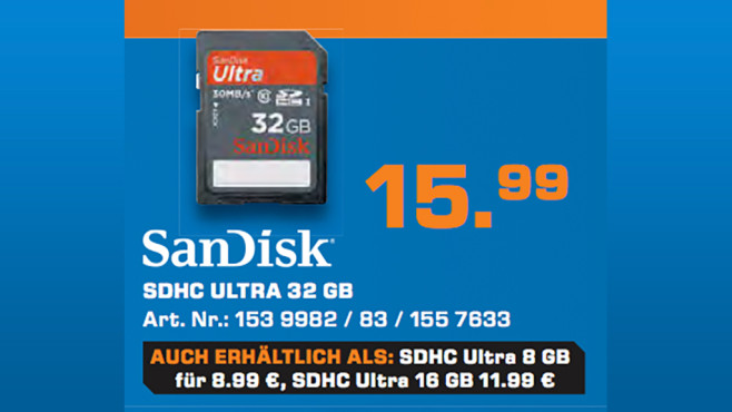 Sandisk Ultra SDHC 32GB Class 10 UHS-I (SDSDU-032G) ©Saturn