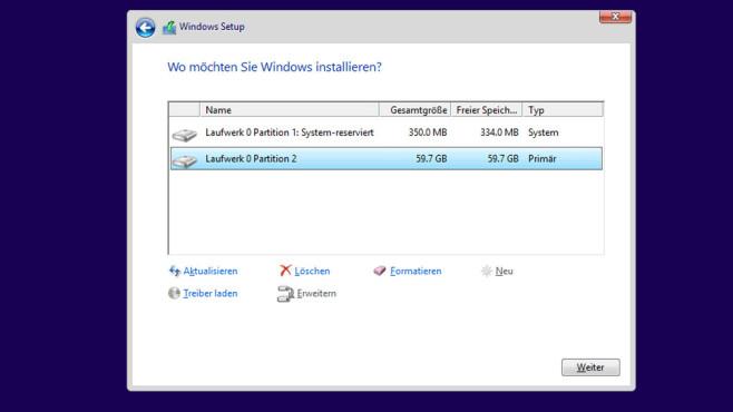 Betriebssystem in VHD-Datei installieren ©COMPUTER BILD