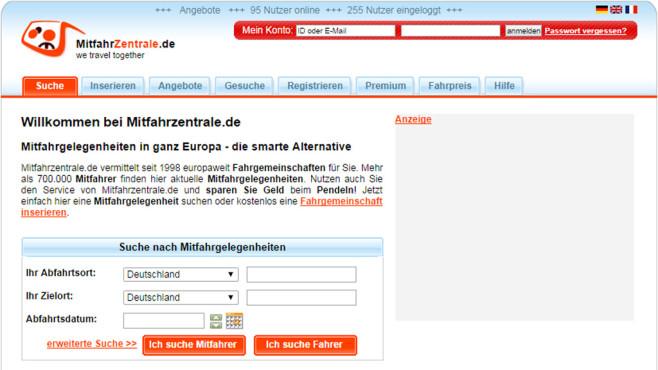 Screenshot Mitfahrzentrale.de ©COMPUTER BILD