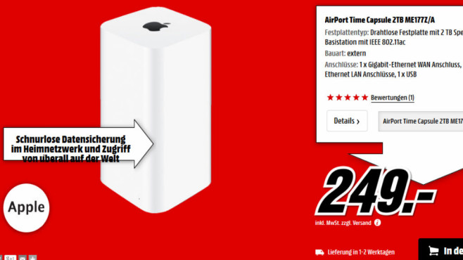 Apple AirPort Time Capsule 2TB © Media Markt