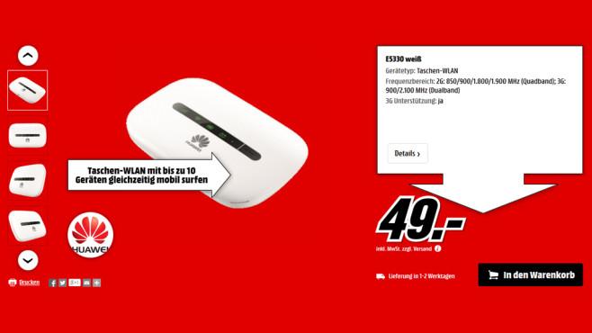 Huawei E5330 Mobiler Hotspot ©Media Markt
