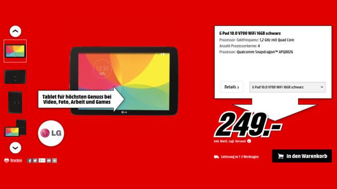LG G Pad 10.1 ©Media Markt