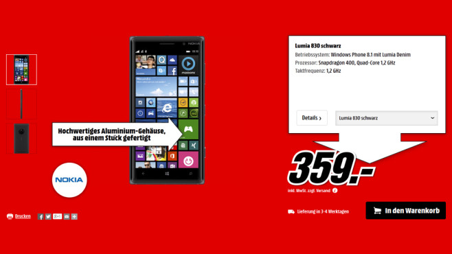 Nokia Lumia 830 ©Media Markt