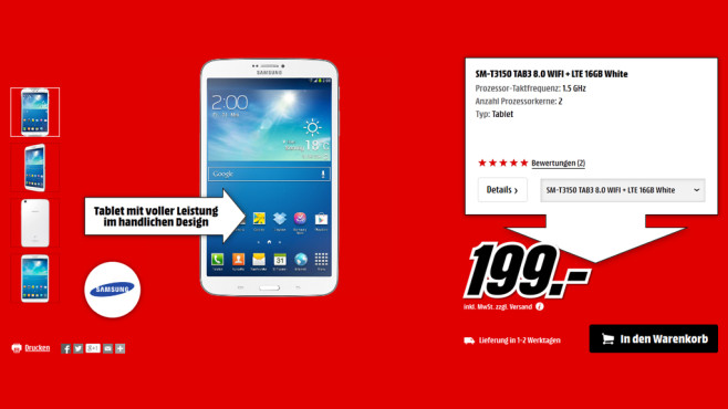 Samsung Galaxy Tab 3 (8.0) 16GB LTE weiß ©Media Markt