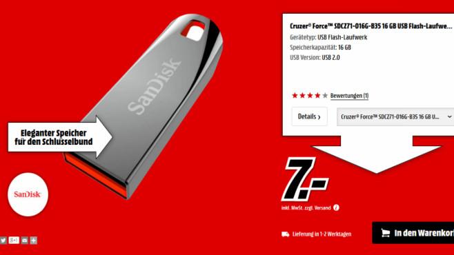 Sandisk Cruzer Force 16GB ©Media Markt
