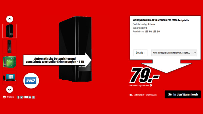 Western Digital My Book AV-TV 2TB © Media Markt