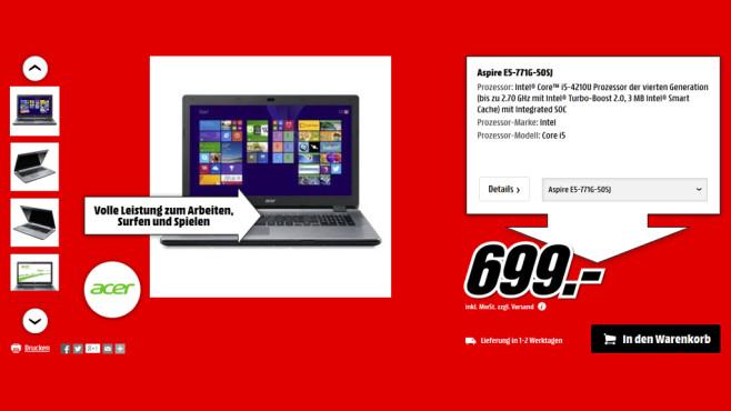 Acer Aspire E5-771G-50SJ ©Media Markt